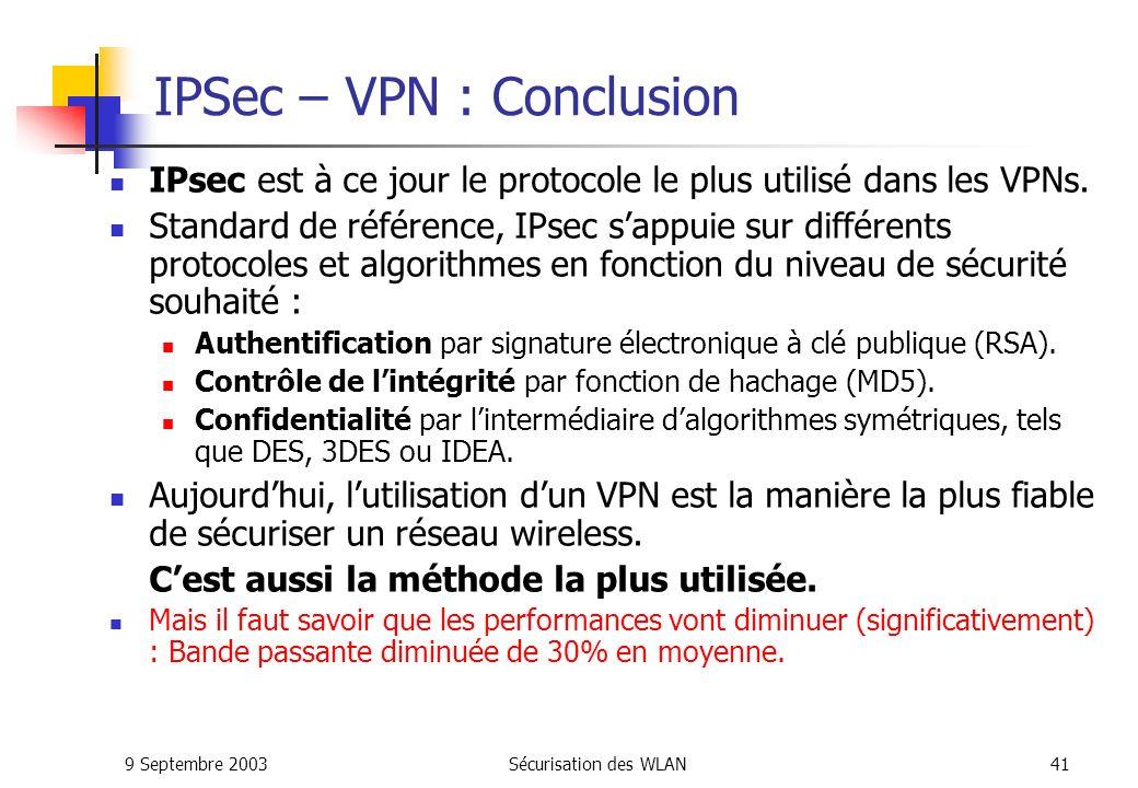IPSec – VPN : Conclusion