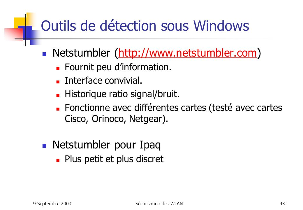 Outils de détection sous Windows