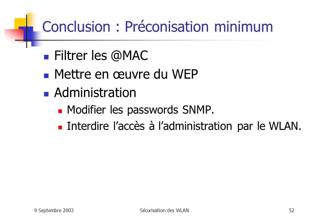 Conclusion : Préconisation minimum
