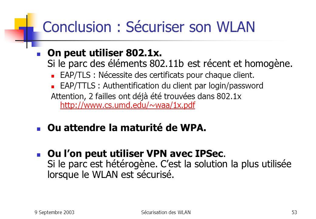 Conclusion : Sécuriser son WLAN