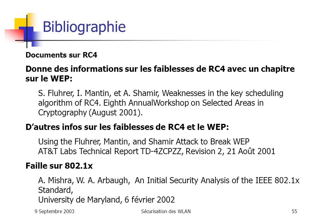 Bibliographie Documents sur RC4. Donne des informations sur les faiblesses de RC4 avec un chapitre sur le WEP: