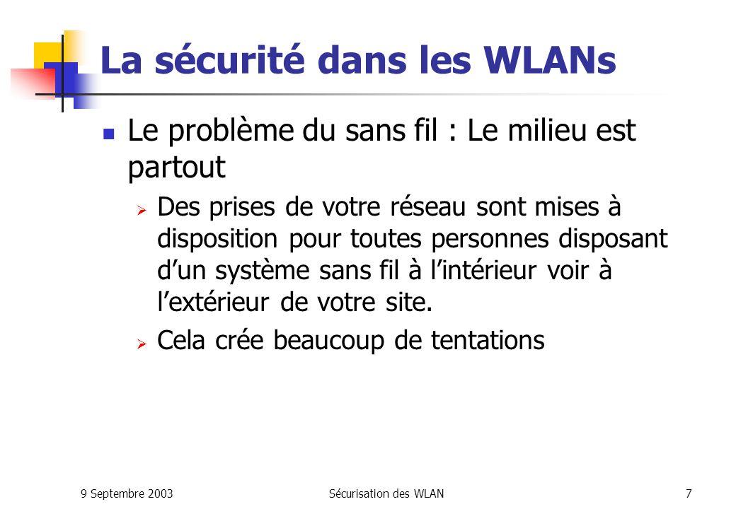 La sécurité dans les WLANs