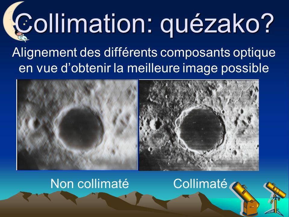 Collimation: quézako Alignement des différents composants optique en vue d'obtenir la meilleure image possible.