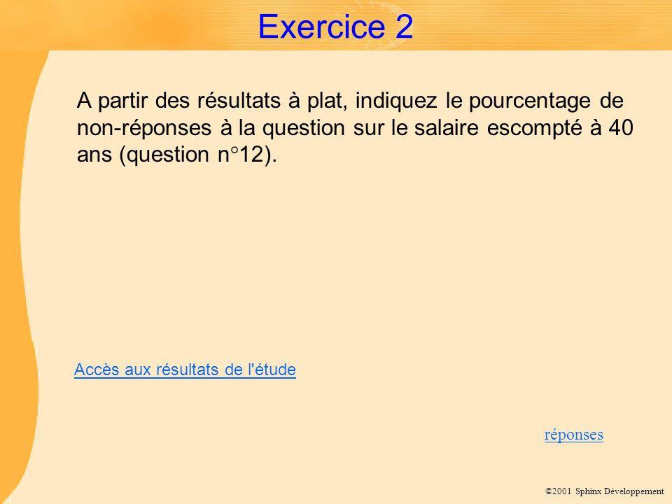 Exercice 2 A partir des résultats à plat, indiquez le pourcentage de non-réponses à la question sur le salaire escompté à 40 ans (question n°12).