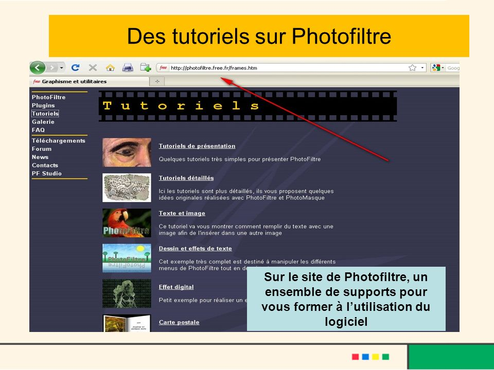 Des tutoriels sur Photofiltre