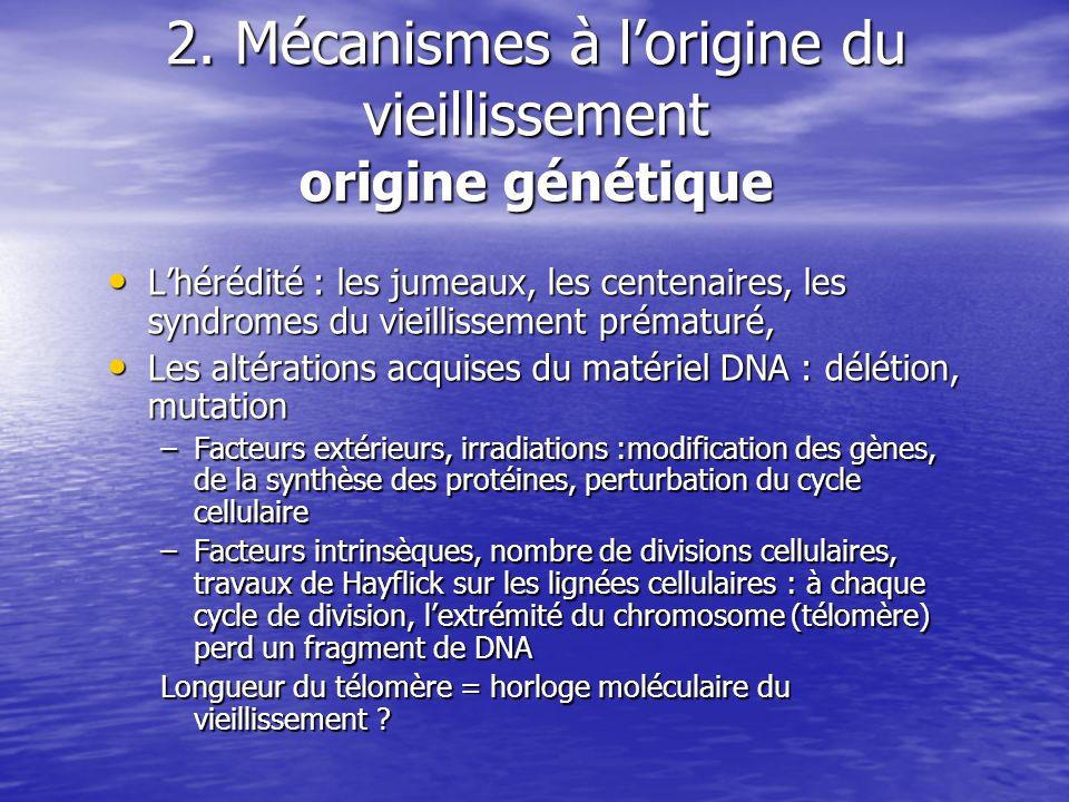 2. Mécanismes à l'origine du vieillissement origine génétique