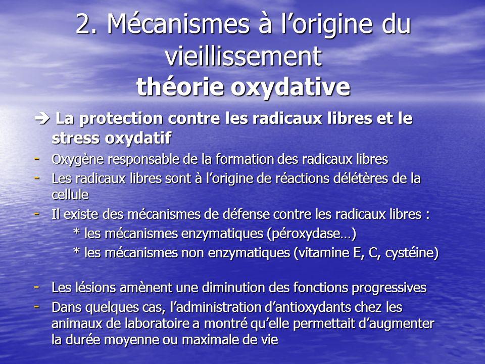 2. Mécanismes à l'origine du vieillissement théorie oxydative