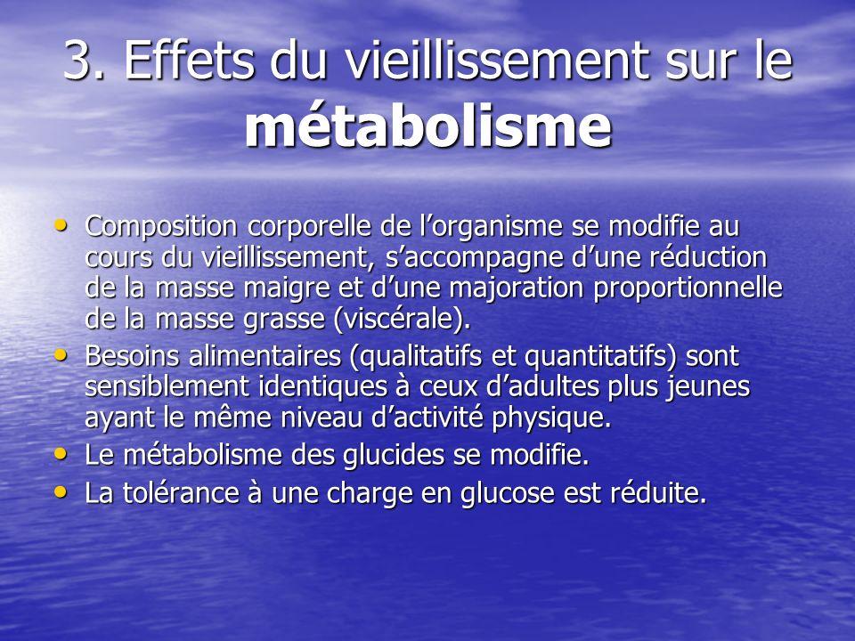 3. Effets du vieillissement sur le métabolisme