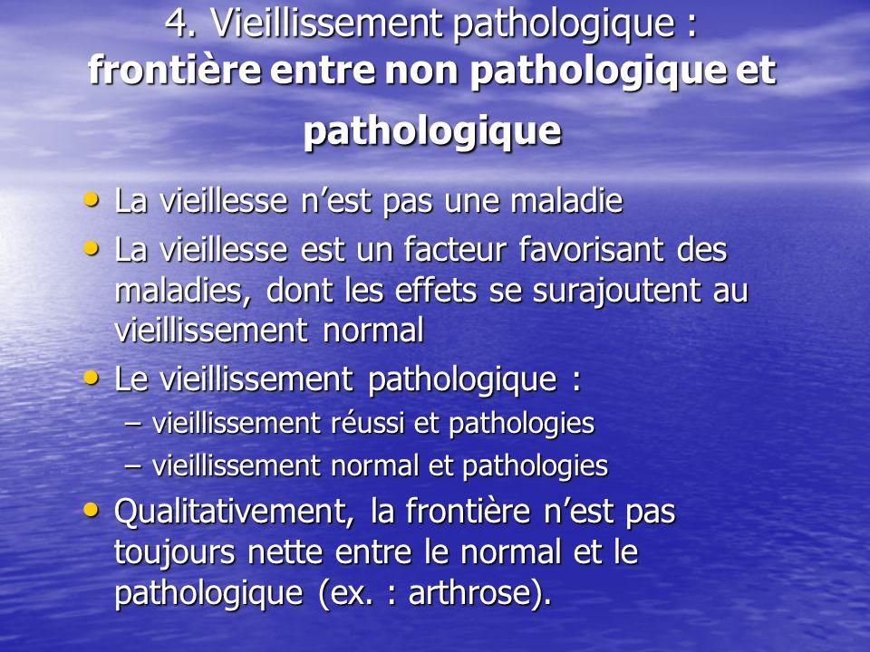 4. Vieillissement pathologique : frontière entre non pathologique et pathologique