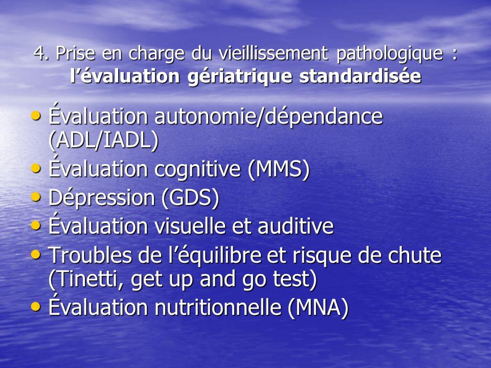 Évaluation autonomie/dépendance (ADL/IADL) Évaluation cognitive (MMS)