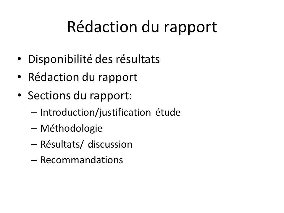 Rédaction du rapport Disponibilité des résultats Rédaction du rapport