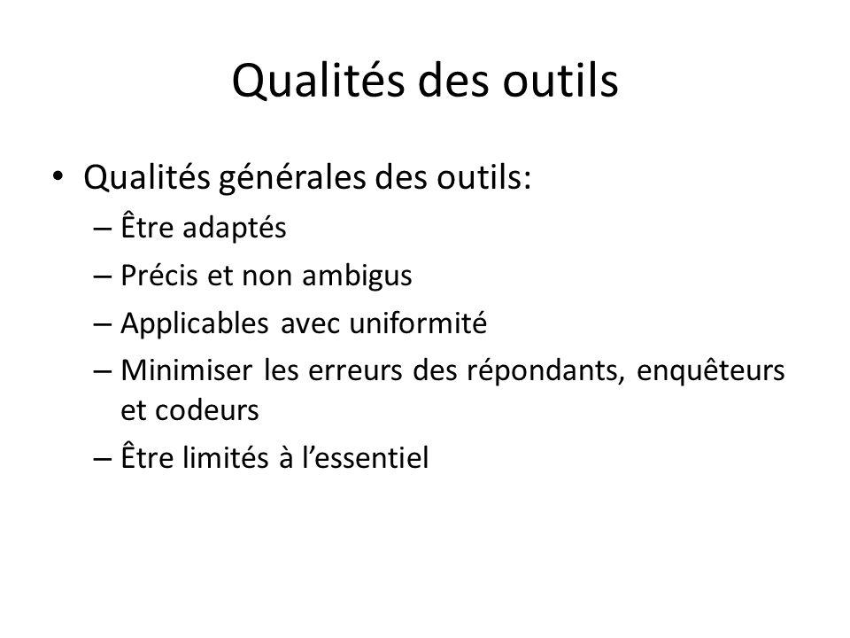 Qualités des outils Qualités générales des outils: Être adaptés