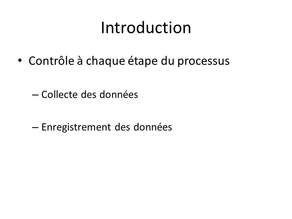 Introduction Contrôle à chaque étape du processus Collecte des données