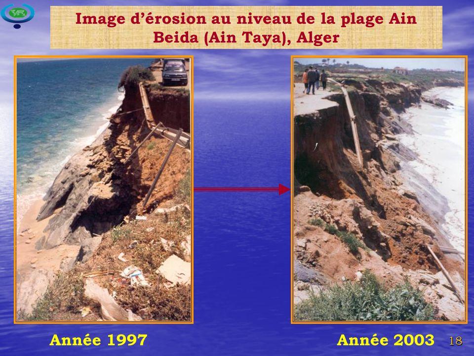 Image d'érosion au niveau de la plage Ain Beida (Ain Taya), Alger