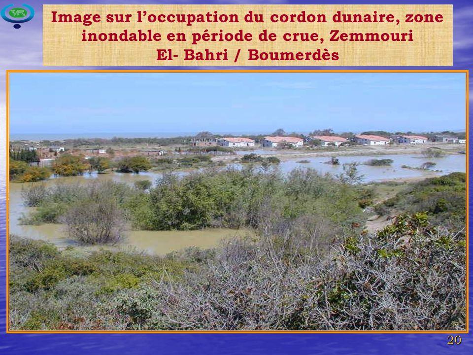 Image sur l'occupation du cordon dunaire, zone inondable en période de crue, Zemmouri El- Bahri / Boumerdès