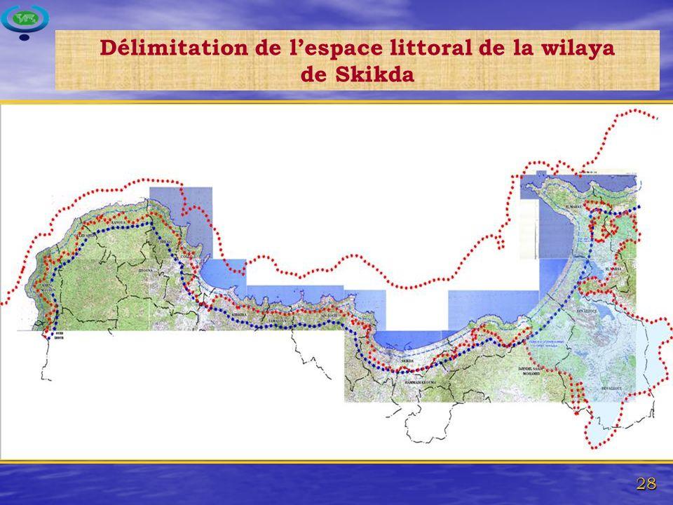 Délimitation de l'espace littoral de la wilaya de Skikda