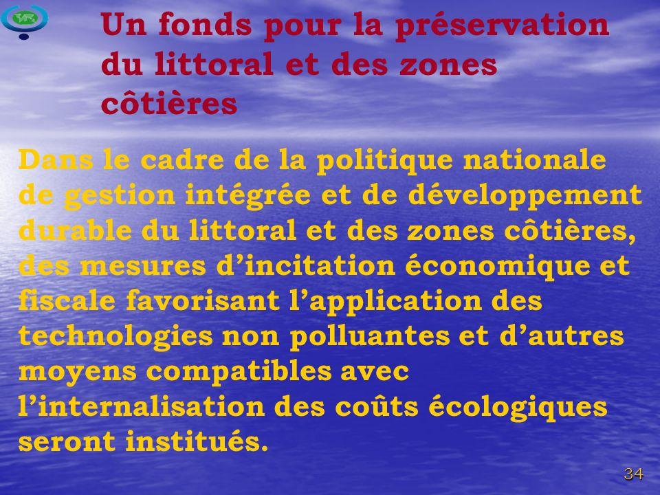 Un fonds pour la préservation du littoral et des zones côtières