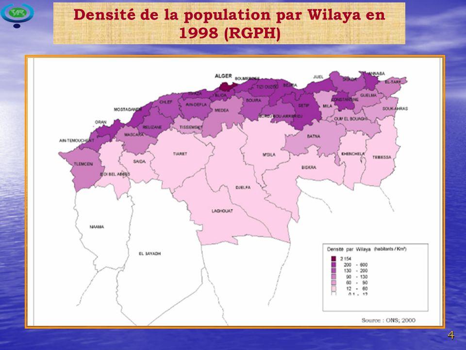 Densité de la population par Wilaya en 1998 (RGPH)