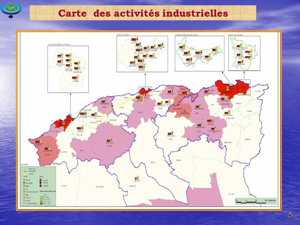 Carte des activités industrielles