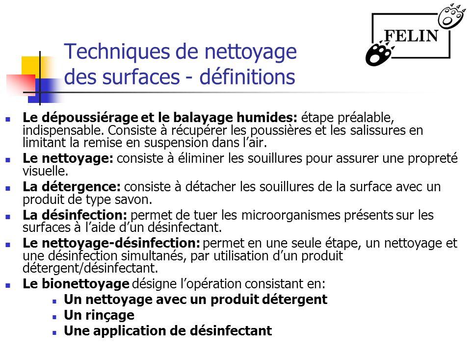 Techniques de nettoyage des surfaces - définitions