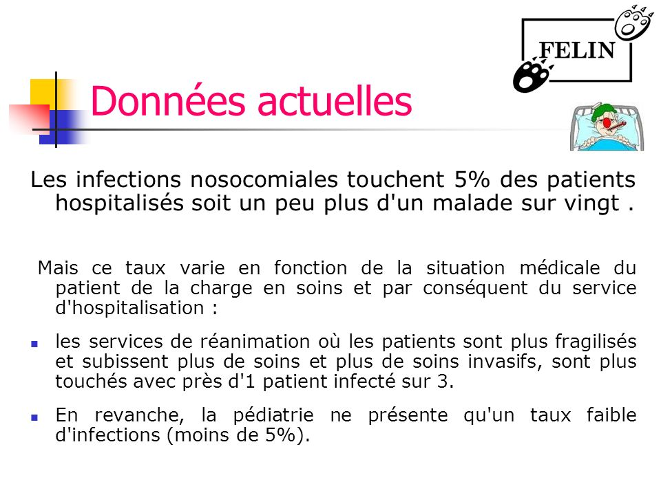 Données actuelles Les infections nosocomiales touchent 5% des patients hospitalisés soit un peu plus d un malade sur vingt .