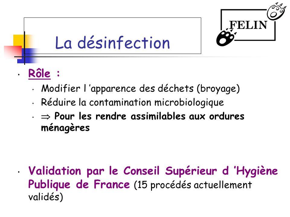 La désinfection Rôle : Modifier l 'apparence des déchets (broyage) Réduire la contamination microbiologique.