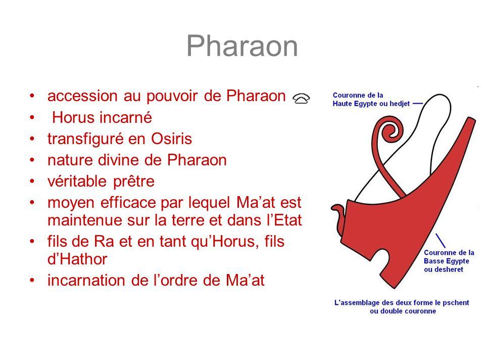 Pharaon accession au pouvoir de Pharaon Horus incarné