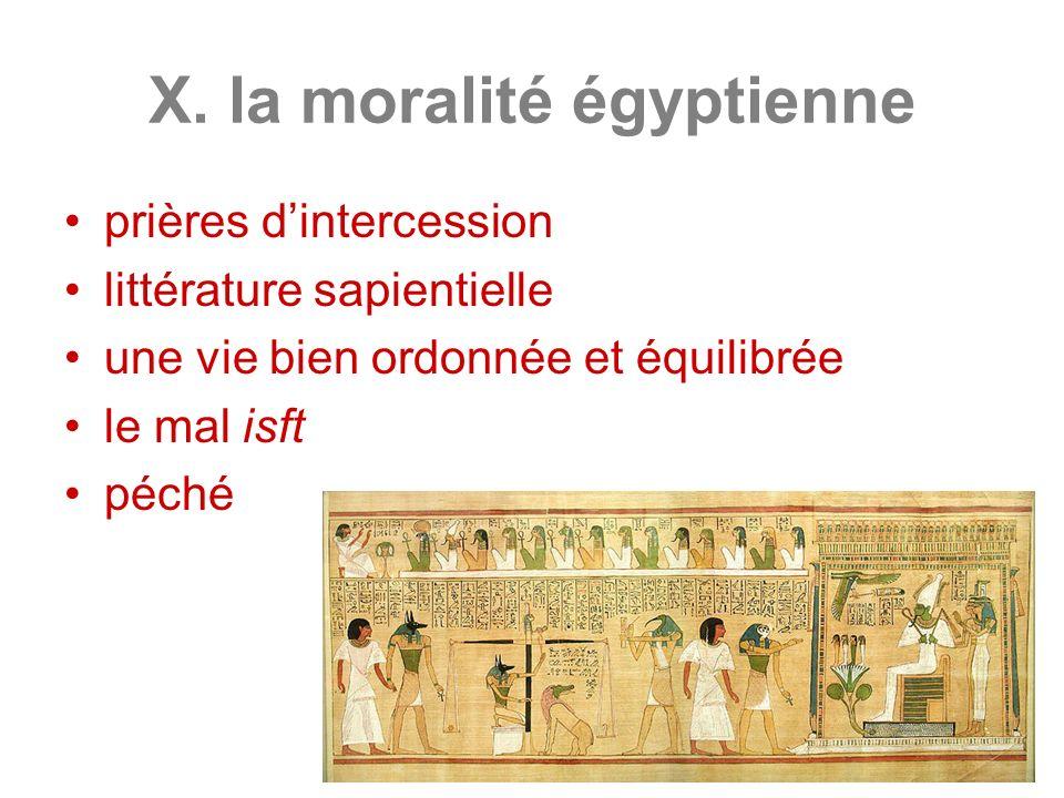X. la moralité égyptienne