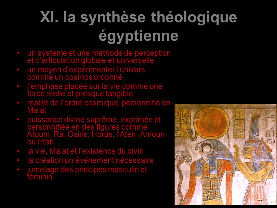 XI. la synthèse théologique égyptienne