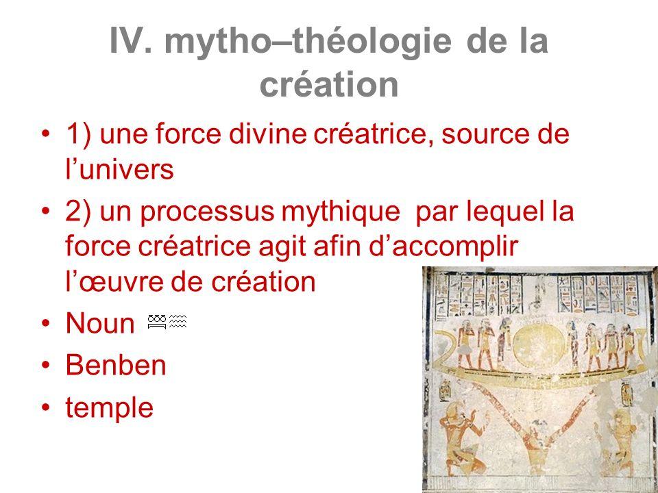 IV. mytho–théologie de la création