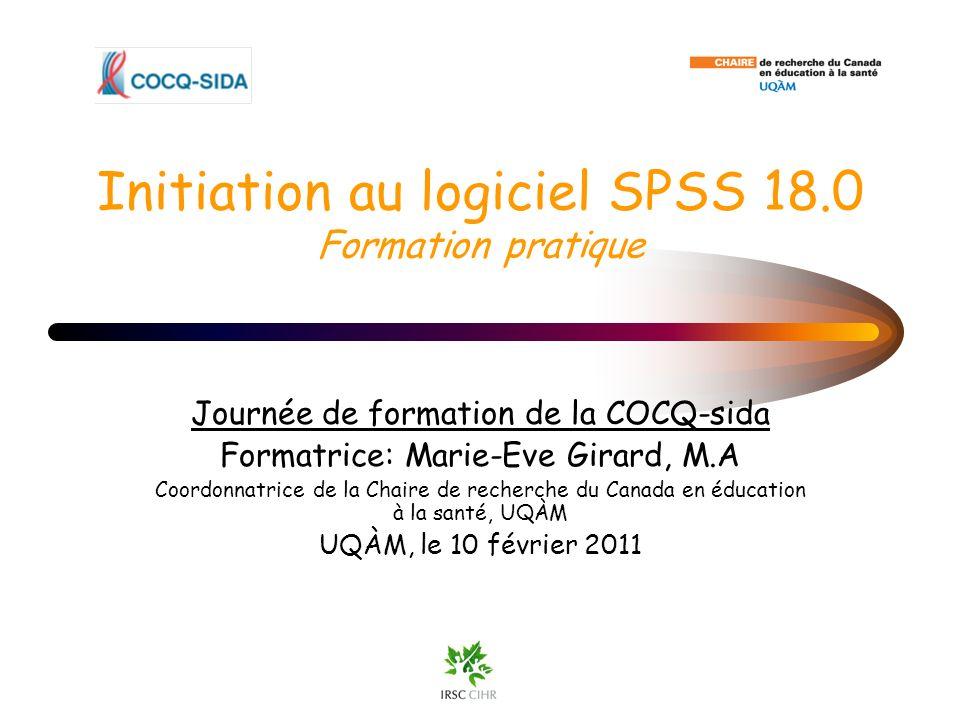 Initiation au logiciel SPSS 18.0 Formation pratique
