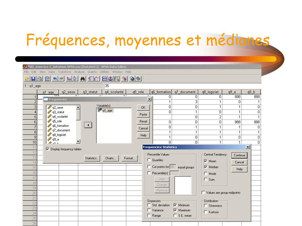 Fréquences, moyennes et médianes