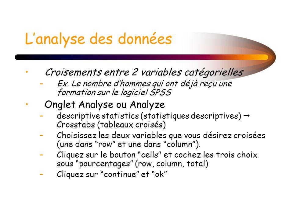 L'analyse des données Croisements entre 2 variables catégorielles