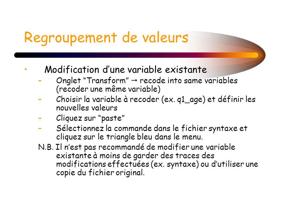 Regroupement de valeurs