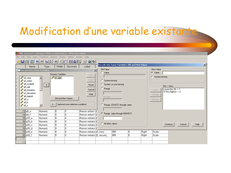 Modification d'une variable existante