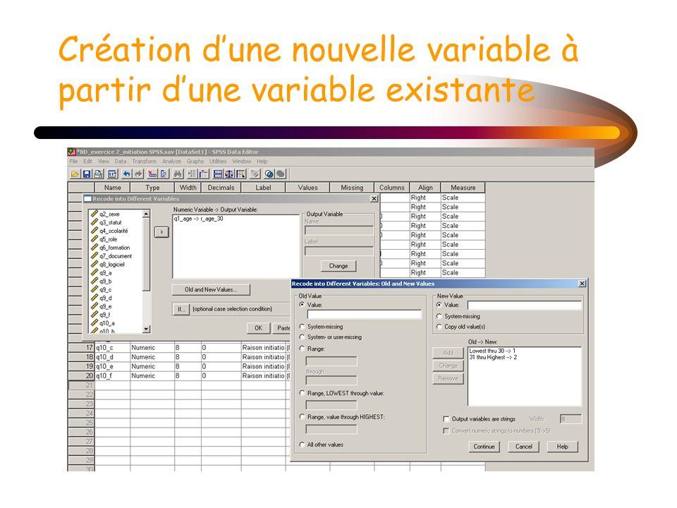 Création d'une nouvelle variable à partir d'une variable existante