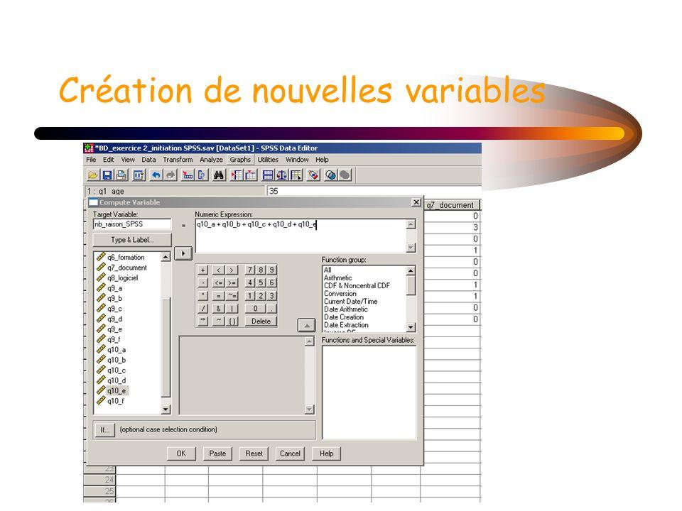 Création de nouvelles variables