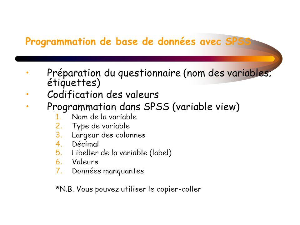 Programmation de base de données avec SPSS