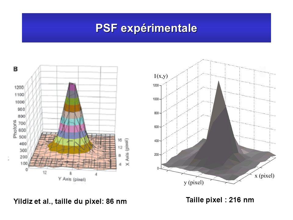 PSF expérimentale Taille pixel : 216 nm