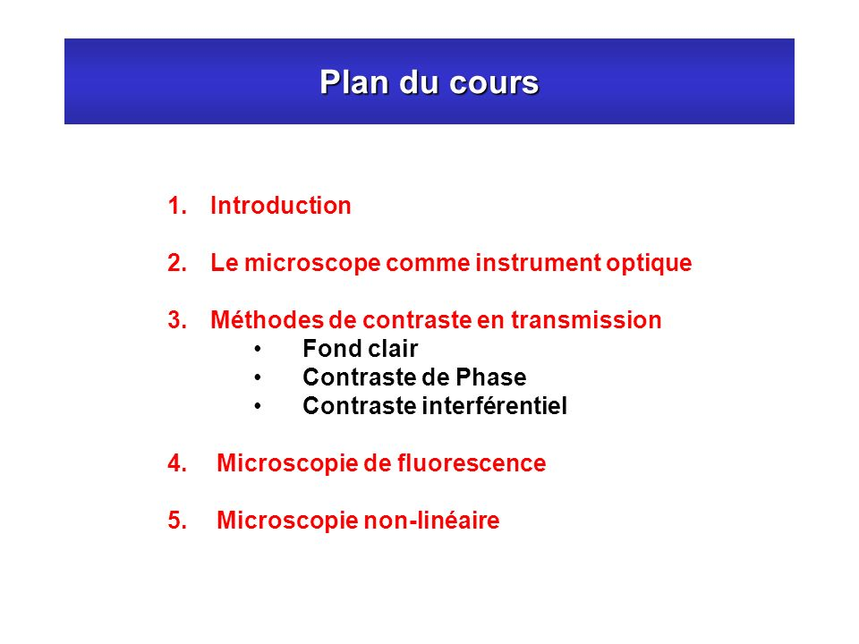 Plan du cours Introduction Le microscope comme instrument optique