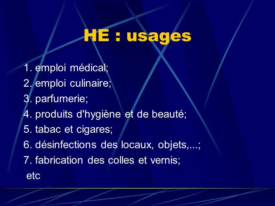 HE : usages 1. emploi médical; 2. emploi culinaire; 3. parfumerie;