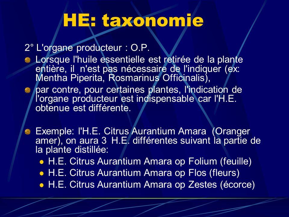 HE: taxonomie 2° L organe producteur : O.P.