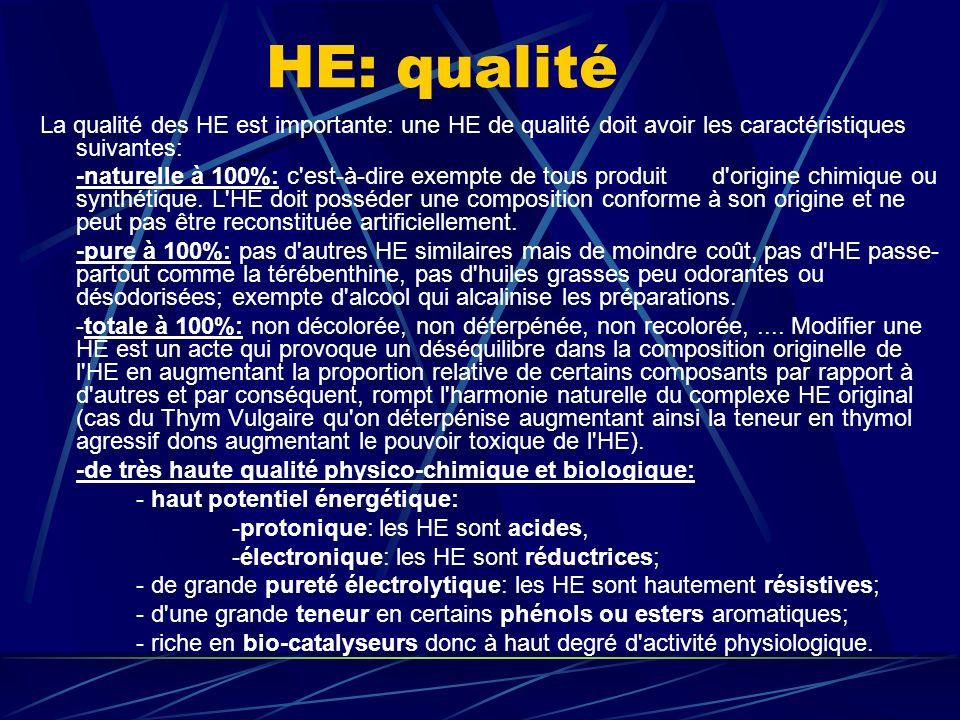 HE: qualité La qualité des HE est importante: une HE de qualité doit avoir les caractéristiques suivantes: