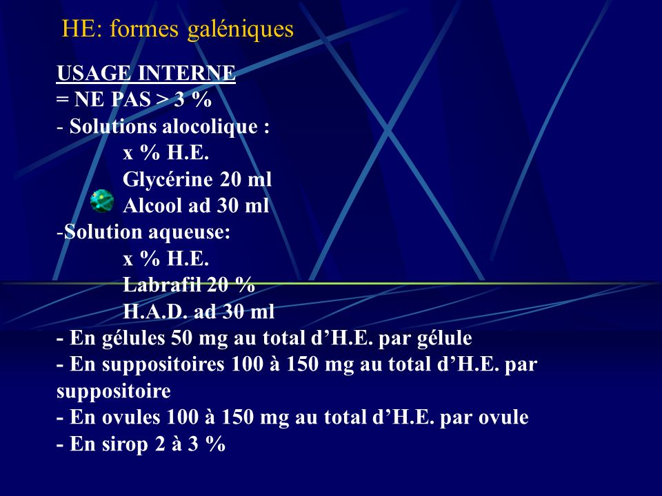 HE: formes galéniques USAGE INTERNE = NE PAS > 3 %