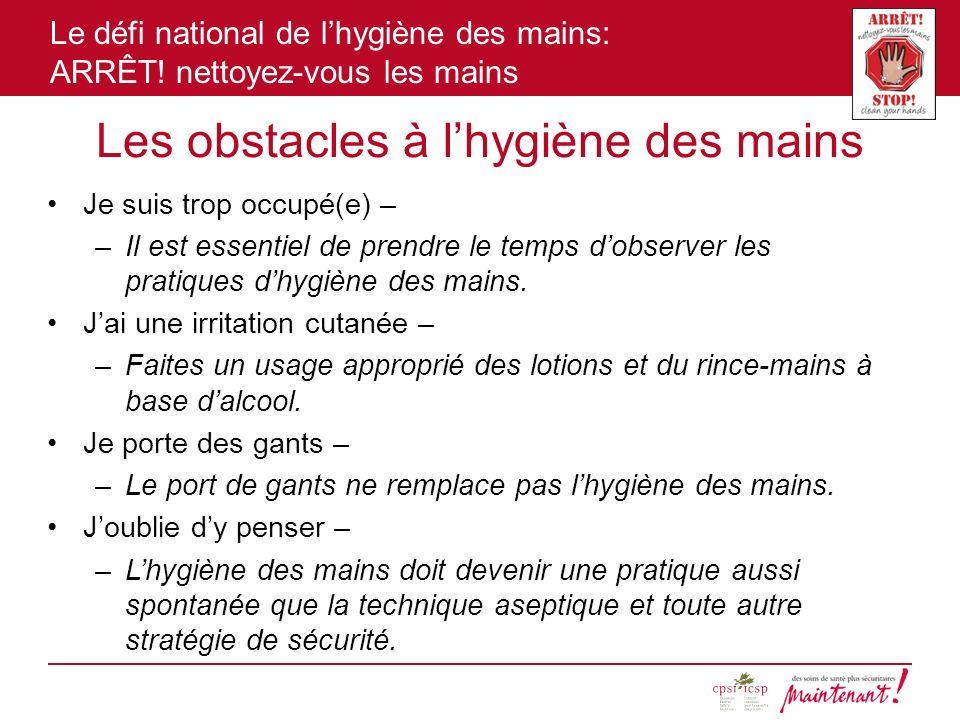 Les obstacles à l'hygiène des mains