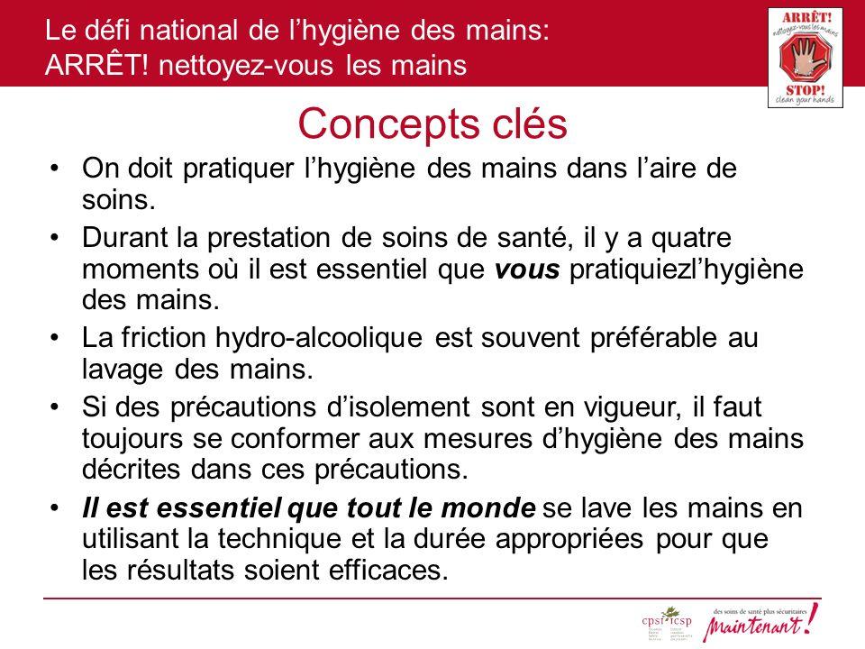 Concepts clés On doit pratiquer l'hygiène des mains dans l'aire de soins.