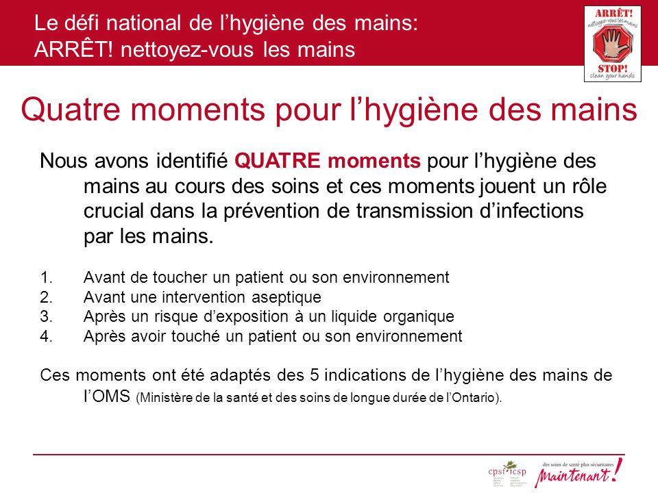 Quatre moments pour l'hygiène des mains