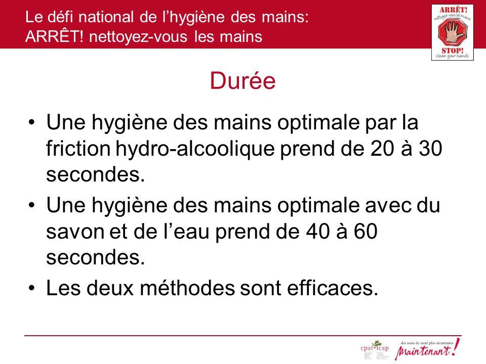 Durée Une hygiène des mains optimale par la friction hydro-alcoolique prend de 20 à 30 secondes.
