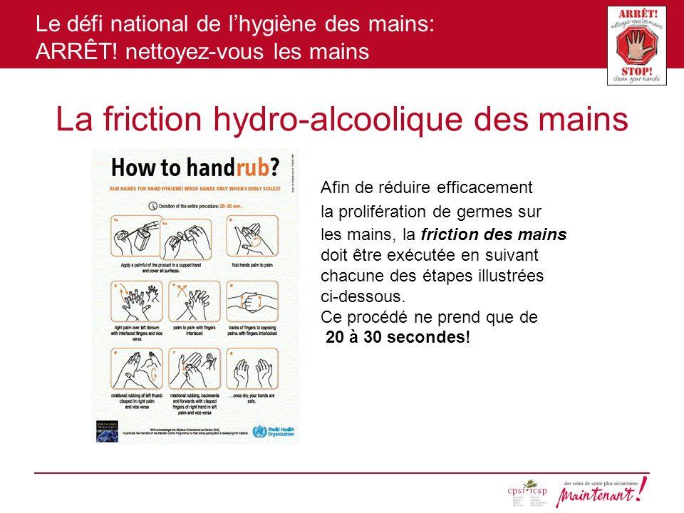 La friction hydro-alcoolique des mains