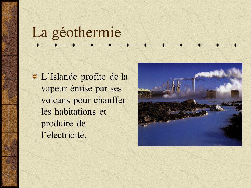 La géothermie L'Islande profite de la vapeur émise par ses volcans pour chauffer les habitations et produire de l'électricité.